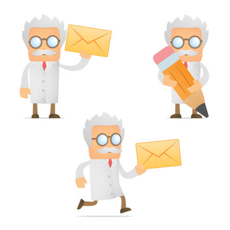 lab coats: funny cartoon scientist with a letter