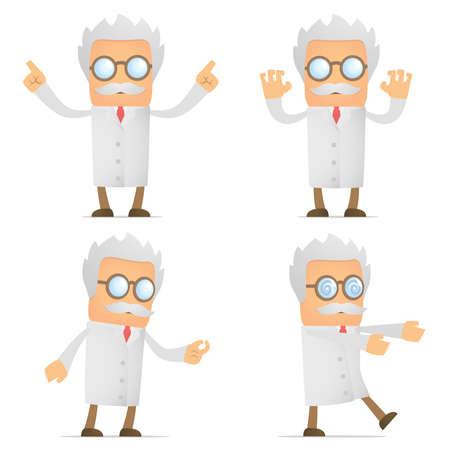 scientist man: funny cartoon scientist Illustration