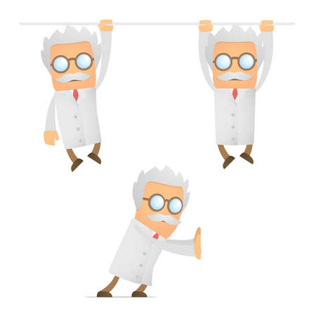 funny cartoon scientist hanging Vector