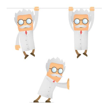hang up: funny cartoon scientist hanging Illustration