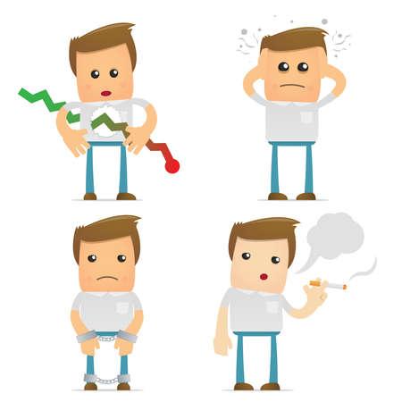 sick people: set of funny cartoon casual man