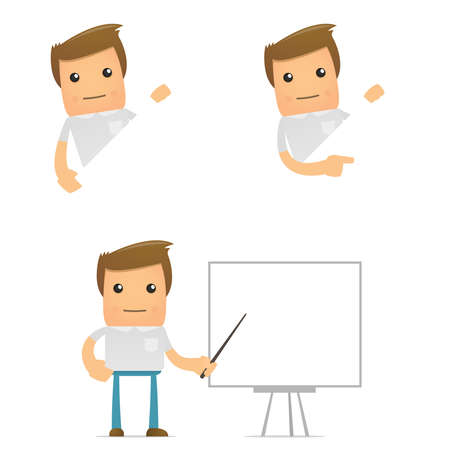 teaching adult: set of funny cartoon casual man