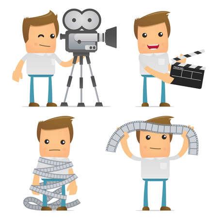 filmregisseur: set van grappige cartoon casual man Stock Illustratie