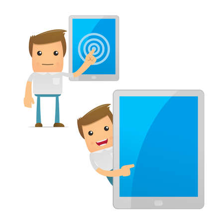 personal data assistant: set of funny cartoon casual man