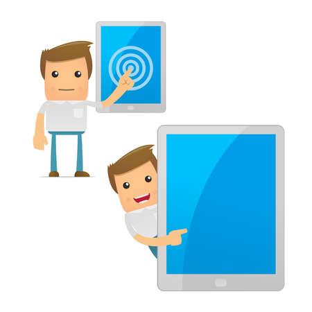 mobil: set van grappige cartoon casual man Stock Illustratie