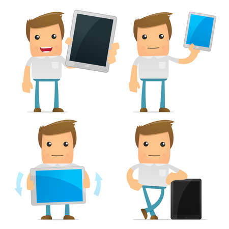 mobil phone: set of funny cartoon casual man