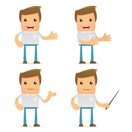 adult learning: set of funny cartoon casual man