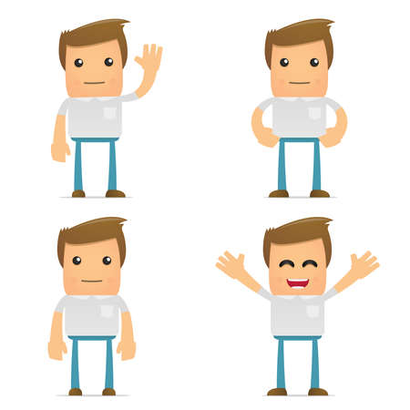 casual: set of funny cartoon casual man