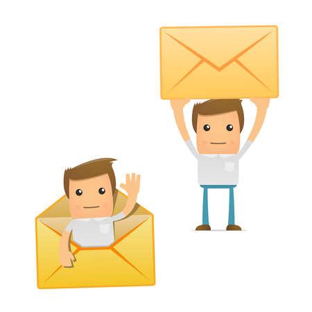 mail man: set of funny cartoon casual man