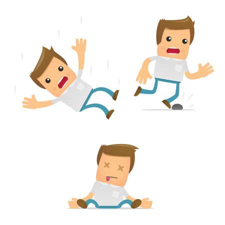 hombre cayendo: conjunto de hombre casual de dibujos animados divertidos