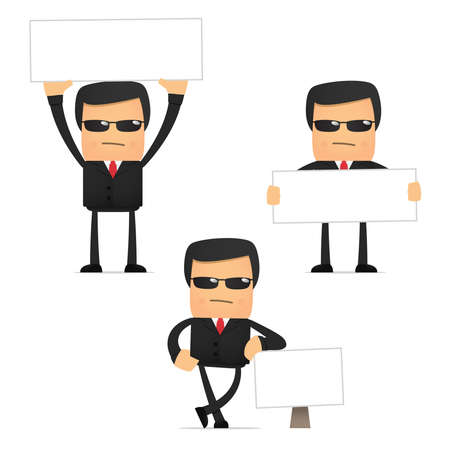 set of funny cartoon security Vector