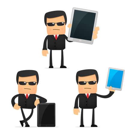mobil phone: set of funny cartoon security