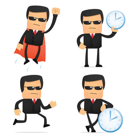 seguridad laboral: conjunto de seguridad caricatura divertida