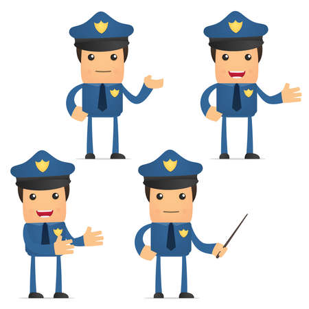 security service: set of funny cartoon policeman