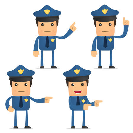 law report: set of funny cartoon policeman