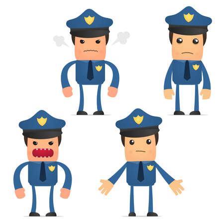 policia caricatura: conjunto de polic�a gracioso de dibujos animados