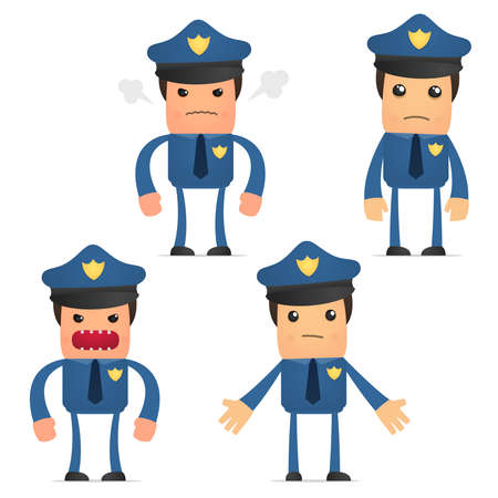 policia caricatura: conjunto de policía gracioso de dibujos animados