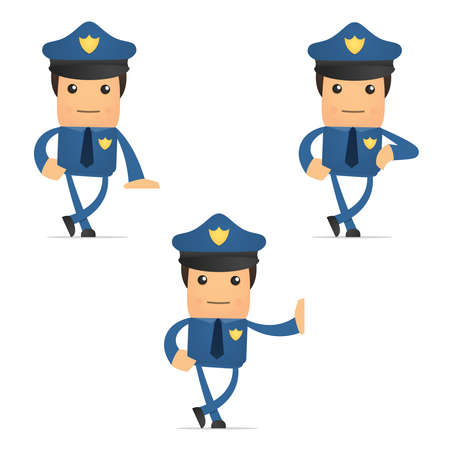 authority: set of funny cartoon policeman