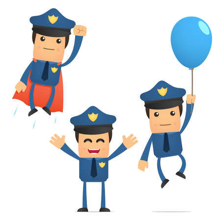 inflate: set of funny cartoon policeman