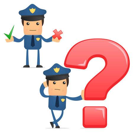 investigación: conjunto de policía gracioso de dibujos animados
