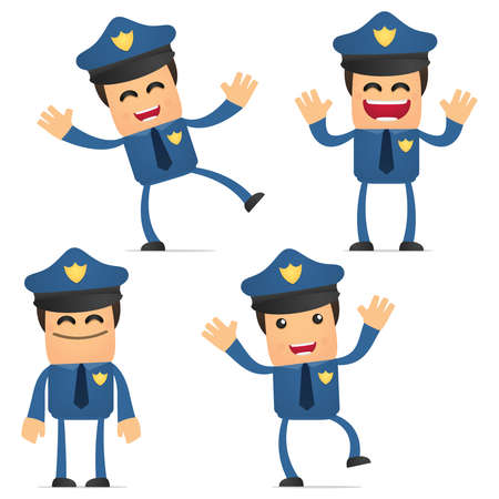 set of funny cartoon policeman