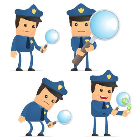 police equipment: set of funny cartoon policeman