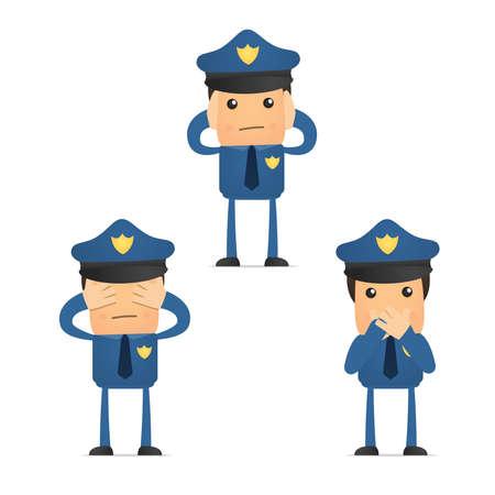 policia caricatura: conjunto de polic�a caricatura divertida