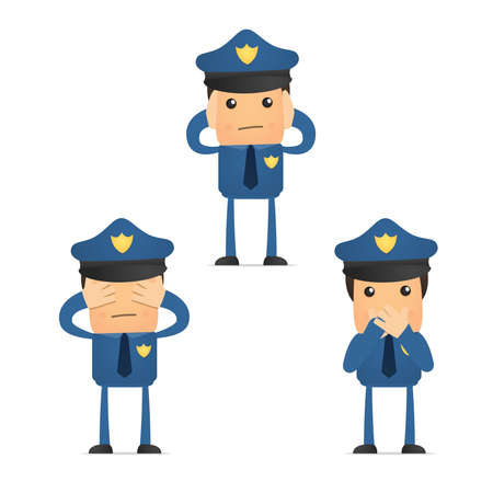 hearing protection: set of funny cartoon policeman