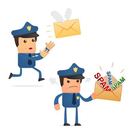 computer crime: set of funny cartoon policeman