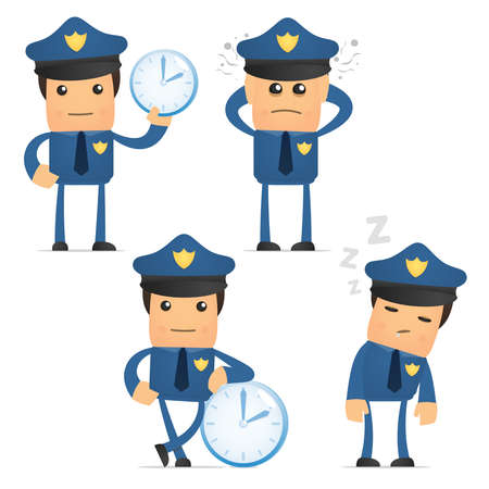 snooze: set of funny cartoon policeman