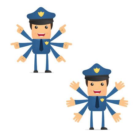 security uniform: set of funny cartoon policeman