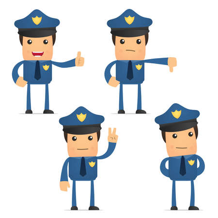set of funny cartoon policeman Vector