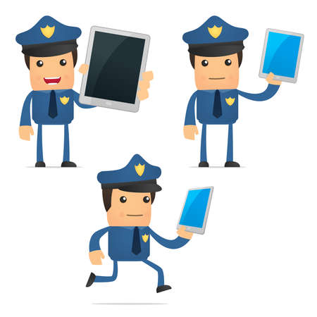 mobil: set van grappige cartoon politieman