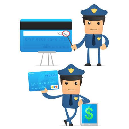 finance department: set of funny cartoon policeman