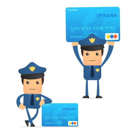 police uniform: set of funny cartoon policeman