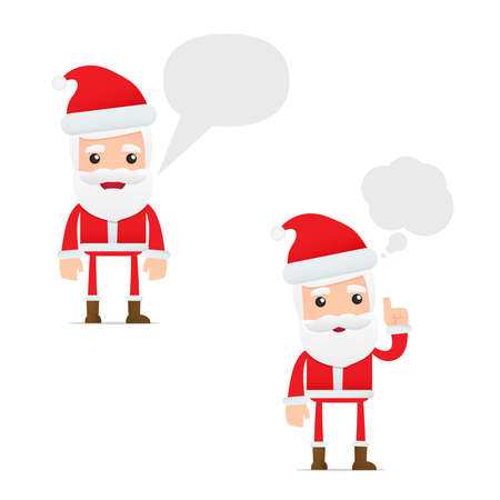 enthusiasm: set of funny cartoon Santa Claus Illustration