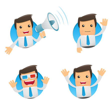 set of funny cartoon manager Vector