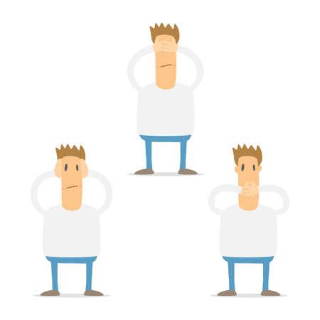 set of funny cartoon casual man Vector