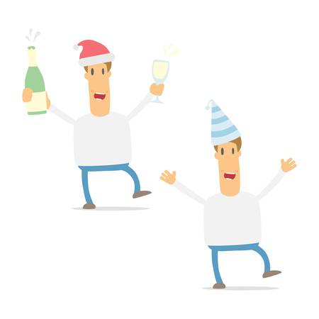 party drinks: set of funny cartoon casual man