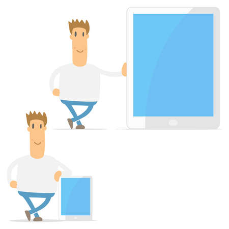 touch sensitive: set of funny cartoon casual man
