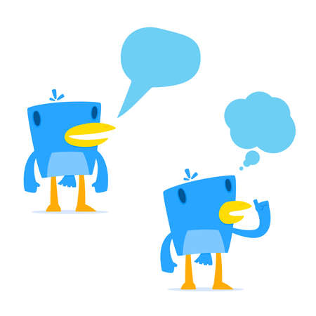 set of funny cartoon blue bird Vector