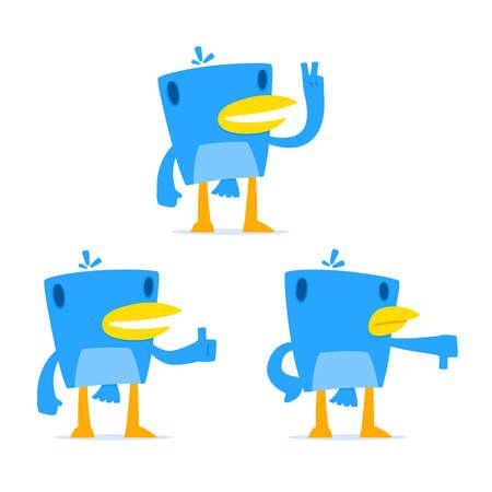 set of funny cartoon blue bird Stock Vector - 10899789