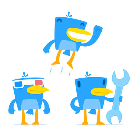 one color: set of funny cartoon blue bird Illustration