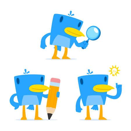 inquiring: set of funny cartoon blue bird Illustration