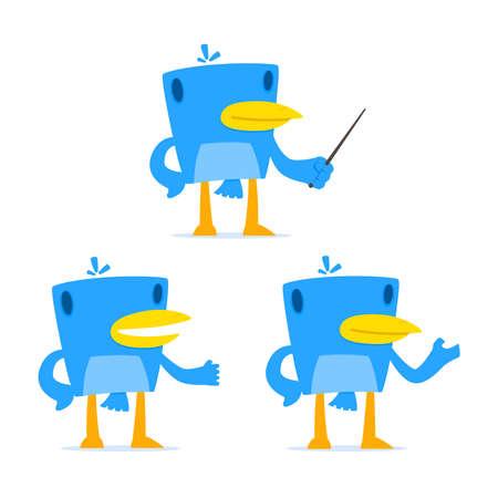 set of funny cartoon blue bird Vector