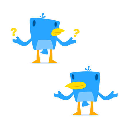 chirp: set of funny cartoon blue bird Illustration