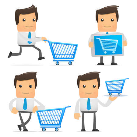 shopping trolleys: set of funny cartoon manager