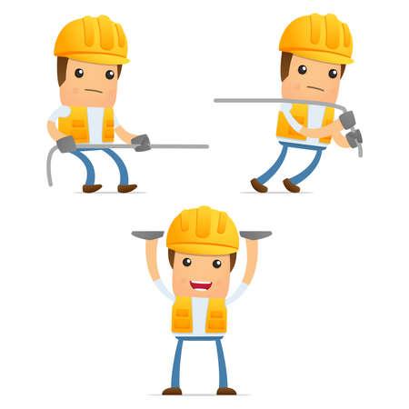 construction hat: set of funny cartoon builder Illustration