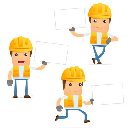 safety at work: set of funny cartoon builder Illustration