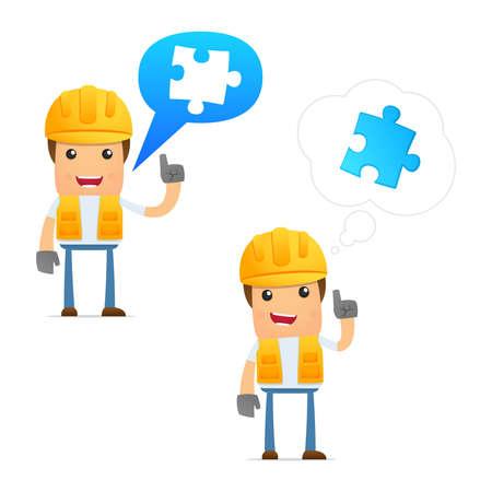 worker cartoon: set of funny cartoon builder Illustration